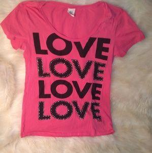 """Victorias secret pink """"love"""" embellished t-shirt"""